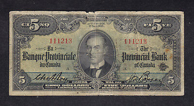 1936 Canada 5 Dollars Provincial Chartered Bank Note
