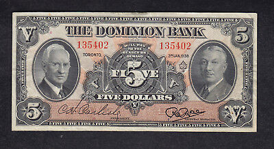 1938 Canada 5 Dollars Dominion Chartered Bank Note