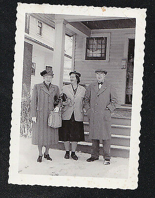 Antique Vintage Photograph Two Older Women & Man in Front of House Great Outfits