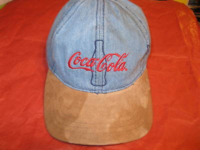 Vintage Coca Cola Coke Denim Hat with Suede Bill and Embroidered Logo
