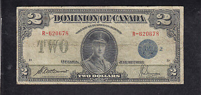 1923 Dominion Of Canada 2 Dollar Blue Seal Bank Note