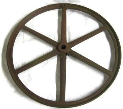 Old 20 Inch Cast Iron Flywheel Spoked Flat Belt Pulley - Industrial Steampunk