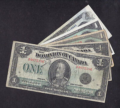 1923 - 73 Canada 1 Dollar Bank Note Collection Of 5