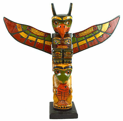 Old Tribe Northwest Coast Style Eagle Fish Indian Totem Pole Native American