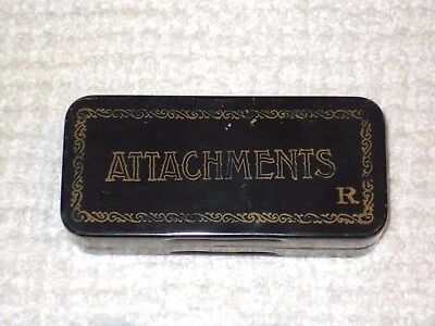 Vintage~Antique Sewing Machine Attachments Hinged Black Metal Tin Empty Box Only