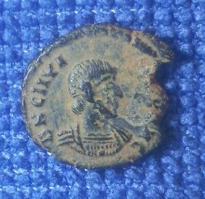 RARE SHARP JULIAN ROME MINT BROCKAGE ANCIENT ROMAN BRONZE COIN desert patina