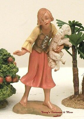 "Fontanini Depose Italy Retired 4"" Girl Holding Lamb Nativity Village Figure New"