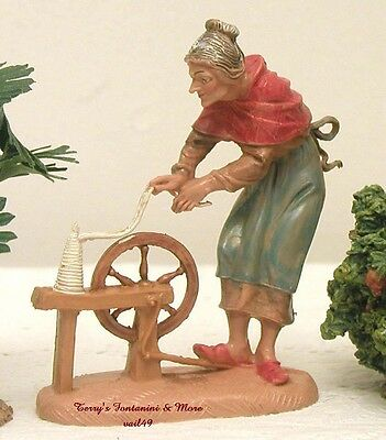 "Fontanini Depose Italy Early 4"" Old Lady Spinning Nativity Village Figure New"
