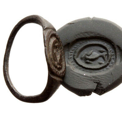Museum Quality Ancient Greek Bronze Seal Ring , Dolphin , Circa 300-100 Bc
