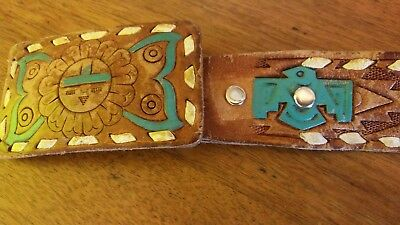 Leather Belt Size 38 Hand Painted Hand Tooled Native American Matching Buckle