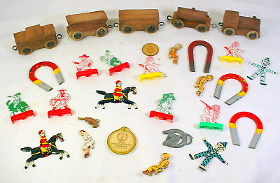 Wooden Toy Train and box of Cracker Jack Toys Sold as One Lot