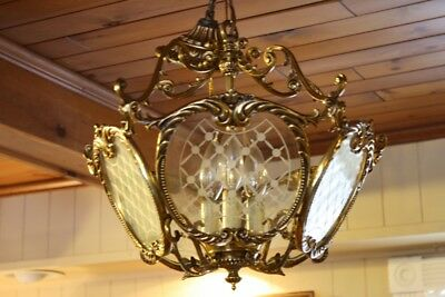 Vintage Hanging Light Fixture Glass Side Panels Gold Gilt Scroll French Panels