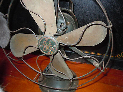 "Vintage 1920's GE 12"" FAN GE OSCILLATING LOOP HANDLE INDUSTRIAL WORKS OLD FAN"