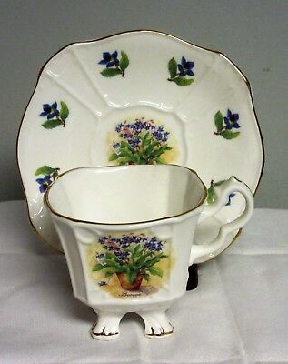 Square Footed TEA CUP & SAUCER Set Crown Dorset Staffordshire England flowers