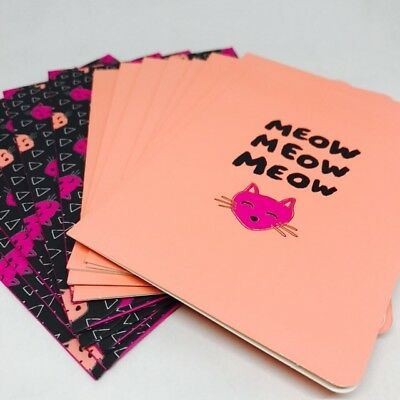 New Cat Note Cards & Matching Envelopes Meow Set 16 Pink Black Blank 5x3.5 Cute