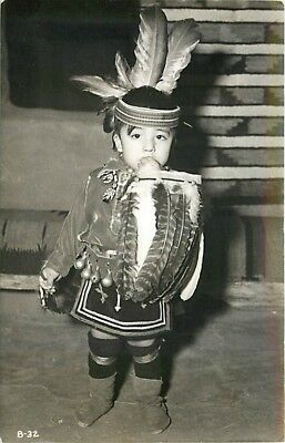 Native American Indian, RPPC, Boy Dressed in Costume, Photo No B-32