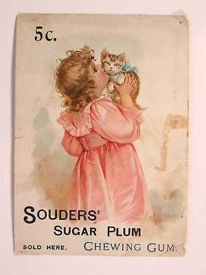 1890s SOUDERS SUGAR PLUM CHEWING GUM CHROMO WINDOW CARD ADVERTISING SIGN