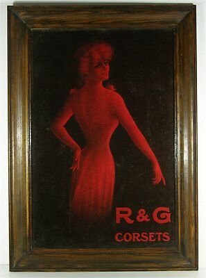 ca1900 R & G CORSETS CHROMOLITHOGRAPH ADVERTISING SIGN PRETTY GIRL UNDERWEAR