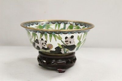 Chinese Cloisonne Panda Bears Bamboo Trees Bowl with Stand