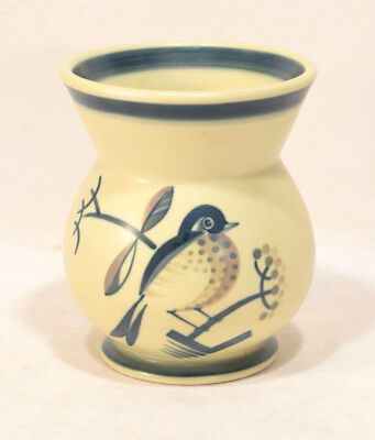 Aluminia Faience Denmark Art Deco Vase w/ Handpainted Bird & Branches