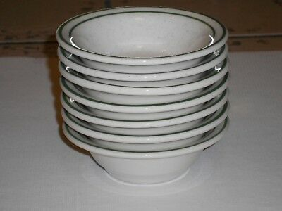 7 Buffalo China Restaurant Ware Small Bowls Speckled Green Stripe Free Ship