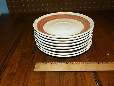 """1967 Set of 8 CANONSBURG POTTERY CO. """"RONDELAY""""  6.5"""" Saucers"""