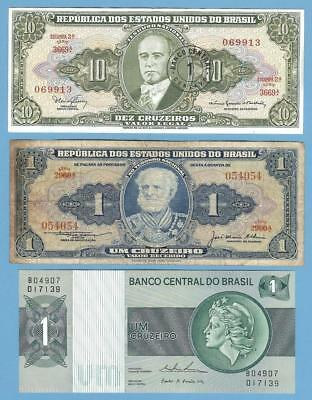 Banknotes Money Currency from Brazil (Brasil), Three Notes