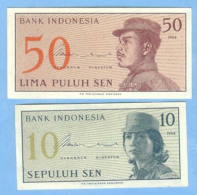 Banknotes Money Currency from Indonesia, 50 and 10 Sen, 1964--UNC