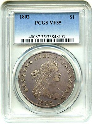 1802 $1 PCGS VF35 - Popular Type Coin - Bust Silver Dollar - Popular Type Coin