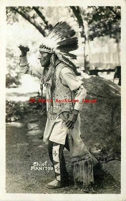 Native American Indian, RPPC, Chief Manitou, Posing as a Lookout Scout, Photo