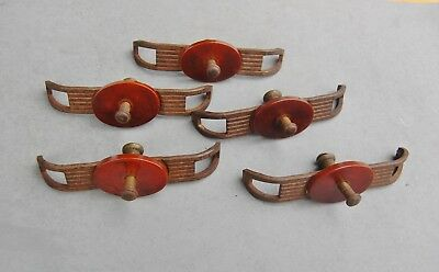 "Drawer Handles Vintage Bakelite Steel Art Deco Set 5 Pulls 4 1/2""x1 1/4"" Salvage"