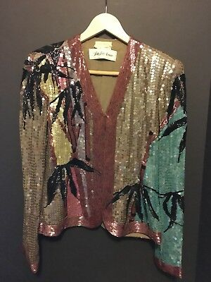 "Vintage ""Neil Bieff"" Sequins & Beaded Jacket Sacks Fifth Avenue Size Small"