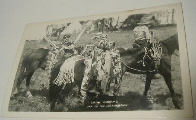 RPPC Crow Indians Off To Celebration Native American Photo Postcard O'Neill