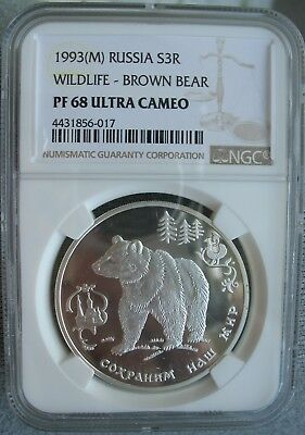 1993-M Russia Silver 3 Roubles NGC PF-68 Ult. Cameo WILDLIFE-BROWN BEAR