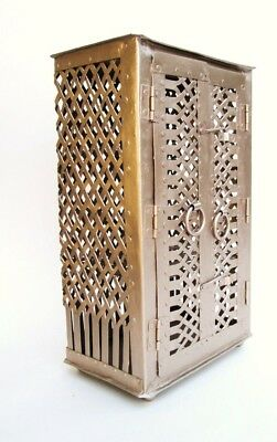 Antique French Locking Metal Pie Pastry Safe Cheese Cabinet Vanity Curio Display