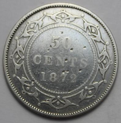 Newfoundland 1872H Sterling Silver 50 Cents, Old Date Queen Victoria