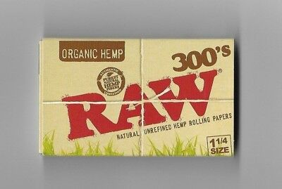 1 PACK RAW 300s ORGANIC HEMP CIGARETTE ROLLING PAPER 1.25 (1¼) NATURAL UNREFINED