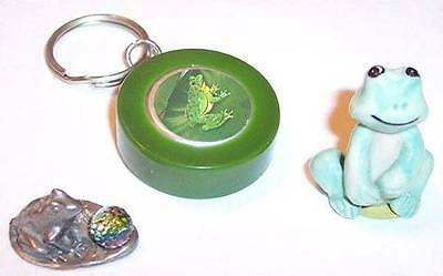 Lot of 3 Tiny Frogs - 1 Glass, 1 Silver & 1 Keychain