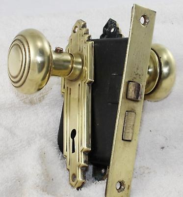 "Antique Door-Brass 5 3/4"" Back Plate/Door Knobs/Latch Set-5 5/8"" x 7/8""-2"" Knobs"