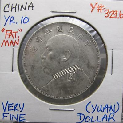 China Yr.10 Silver Dollar (Yuan)! Very Fine! Y# 329.6! Nice Type Coin! Look!