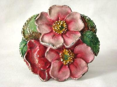 Lovely Antique WILD ROSE Flower CAST IRON Drapery Curtain Tie-Back, HUBLEY