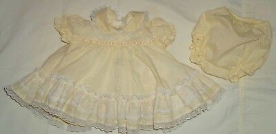 VTG Baby Pastel Yellow Polka Dot Frilly Layered Lace Dress & Bloomers Sz 0-6  mo