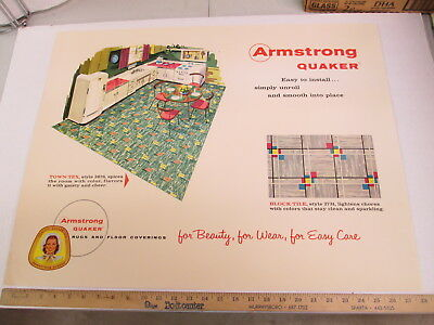 ARMSTRONG 1950s kitchen home floor coverings carpet rug store display sign BT TT