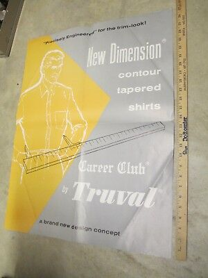 TRUVAL MEN'S SHIRT trim tapered 1950s vintage clothing store display sign poster