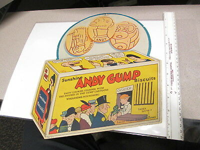 SUNSHINE Loose-Wiles Co 1930s store display ANDY GUMP cookie box comic book sign