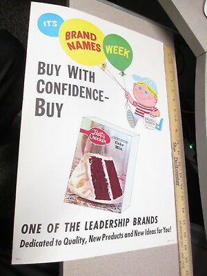 BETTY CROCKER CAKE MIX 1960s advertising store display sign cartoon kid balloons