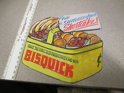 BISQUICK Betty Crocker 1940s store sign ORIGINAL ART summer shortcake BASKET