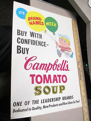 CAMPBELL'S TOMATO SOUP 1960s advertising store display sign cartoon kid balloons