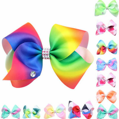 "8"" Inch Large Girls Hair Bows Grosgrain Ribbon Knot Large With Clips"