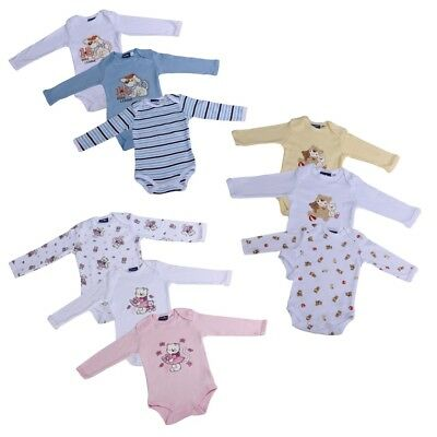 3er Set Langarm Baby Body verschiedene Designs